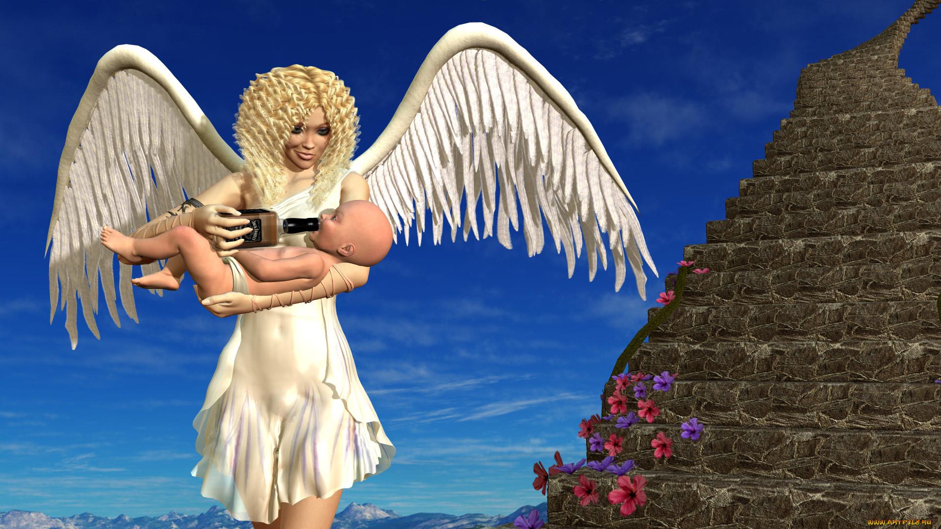 Картинки или обои с ангелами